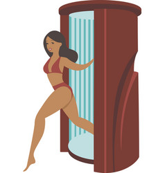 Young tanned woman steps out solarium vector
