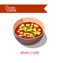 bean curd in bowl isolated on white soup with vector image vector image