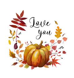 floral watercolor style autumn card design orange vector image vector image