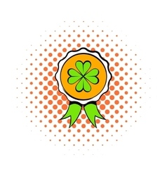 Four leaves clover badge icon comics style vector image
