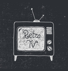 hand drawn old retro tv vector image vector image
