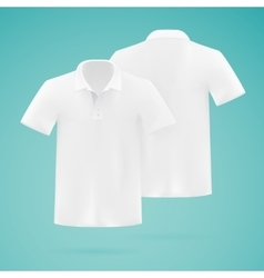 Mens white polo shirt template Realistic vector image