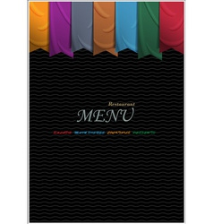 Vertical menu card design with ribbons vector image