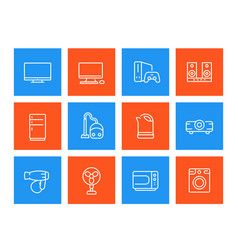 appliances icons consumer electronics vector image