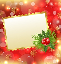 Christmas card with mistletoe and pine vector image vector image