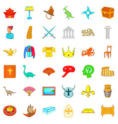 curator icons set cartoon style vector image