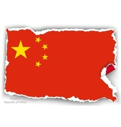 design flag republic of china from torn papers vector image vector image