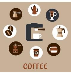 Flat coffee icons around the coffee machine vector image vector image