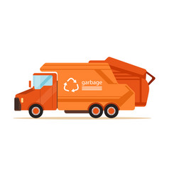 orange garbage collector truck waste recycling vector image