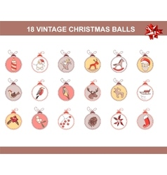 Set of different vintage Christmas decorations vector image vector image