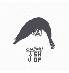 Shrimp silhouette Seafood shop branding template vector image