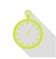 stopwatch sign pear icon with flat vector image vector image