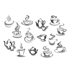 cup of coffee and tea teapot sugar bowl icon set vector image
