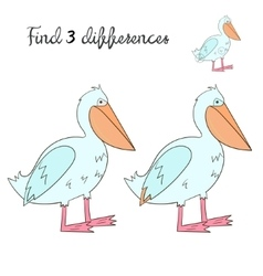 Find differences kids layout for game pelican vector image vector image