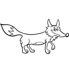 fox cartoon for coloring vector image