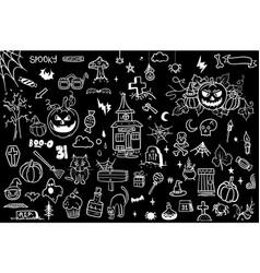 halloween doodle set creative design for vector image