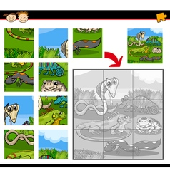 Reptiles education jigsaw puzzle game vector