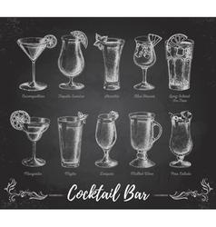 Vintage cocktail bar menu vector