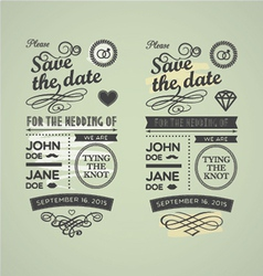 Wedding stamps green yellow vector image vector image