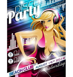 Disco Party Flyer Design with sexy girl and headph vector image