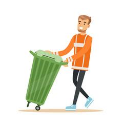 smiling street cleaner man in a orange uniform vector image vector image