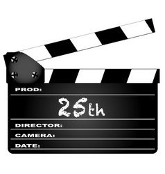 25th year clapperboard vector