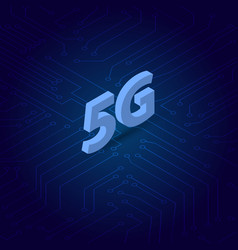 5g symbol on the background of computer contacts vector