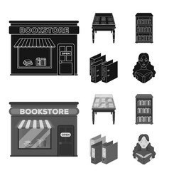 A table with old documents bookshelves folders vector