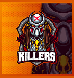 Alien predator killers mascot esport logo design vector
