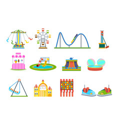 Amusement park for children with attraction games vector