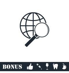Analyzing world icon flat vector