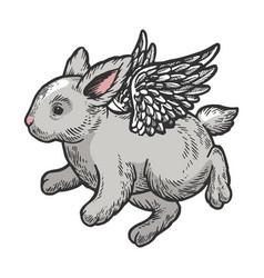 Angel flying baby bunny color sketch engraving vector