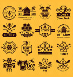 apiary badges labels or logos for honey products vector image