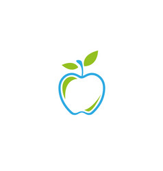 apple green fruit with leaves logo design vector image