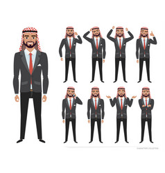 arab businessman character set of emotions and vector image