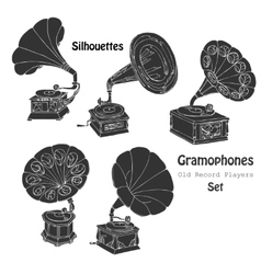 Background with gramophones vector