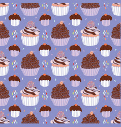 baked cupcakes food pattern seamless vector image