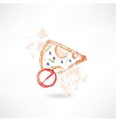 Ban slice of pizza grunge icon vector