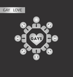 Black and white style icon gay in love community vector