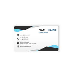 blue modern business name card image vector image