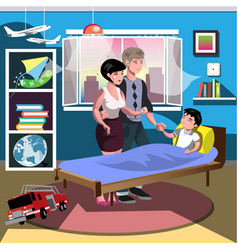 Boy on bed with parent in room vector