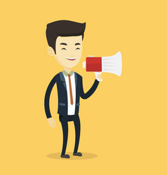 business man speaking into megaphone vector image