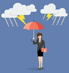 Business woman with umbrella protecting from vector image