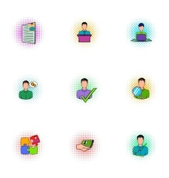 Businessman icons set pop-art style vector