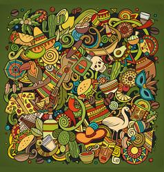 cartoon color doodles latin america vector image