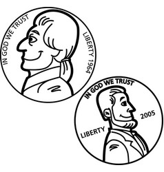 Cartoon nickel and penny coins vector