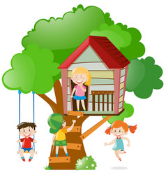 Children playing on treehouse vector