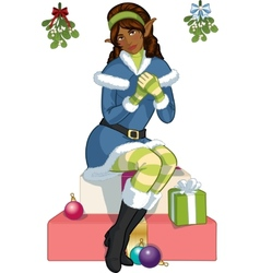 Christmas elf African American girl with mistletoe vector image