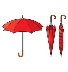 closed and opened umbrella set vector image