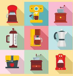 Coffee maker pot espresso icons set flat style vector